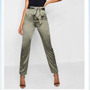 Tall belted woven trousers